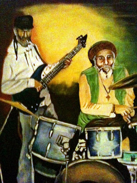 painting of musicians by hughie izachaar